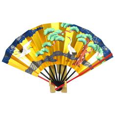 夫婦円満の象徴である丹頂鶴に、延命長寿のめでたさを表す老松を描いた京扇子です。