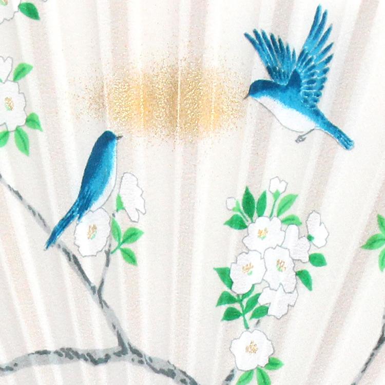 扇面アップ 青い鳥