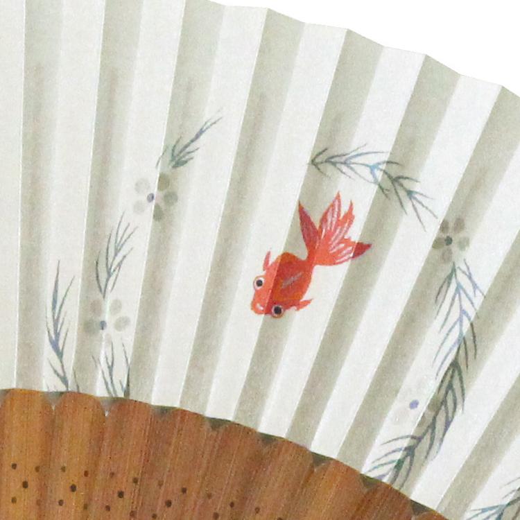 扇面アップ 金魚