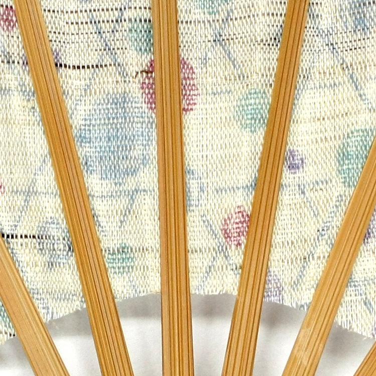 扇子袋は生地の切り替えがポイントのがまぐち型です。