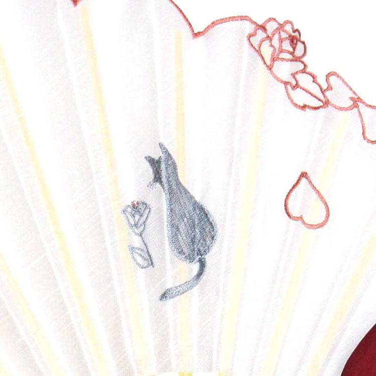 猫の刺繍アップ ピンク