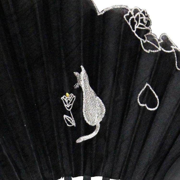 猫の刺繍アップ ブラック